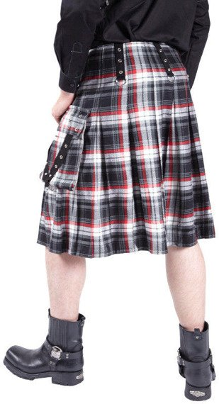 kilt męski DEAD THREADS- RED/BLACK TARTAN