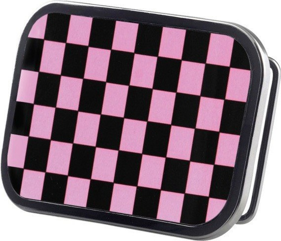 klamra do pasa CHECKERS BLACK/PINK