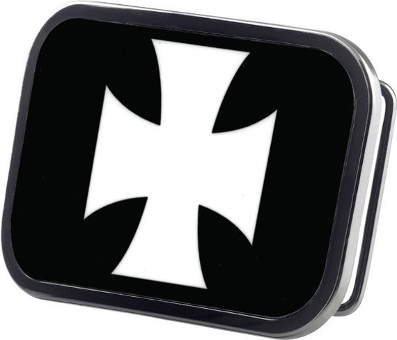 klamra do pasa IRON CROSS BLACK/WHITE