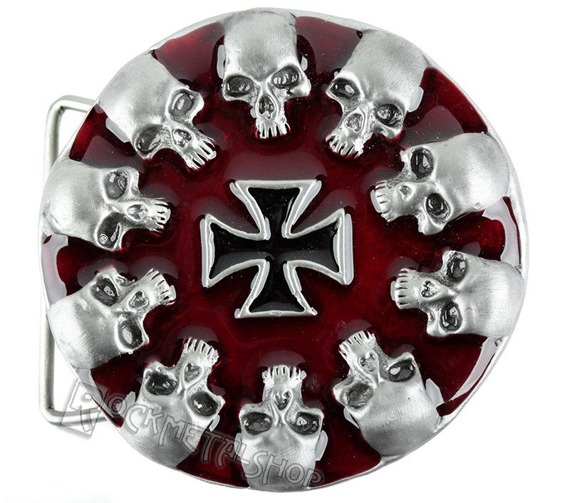 klamra do pasa SKULLS + IRON CROSS