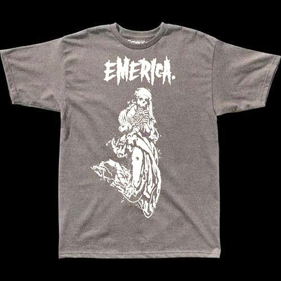 koszulka EMERICA - GHOST SKULL (CHAR/HEATHER) 09'