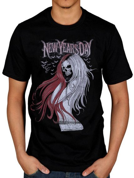 koszulka NEW YEARS DAY - LONG HAIR SKULL