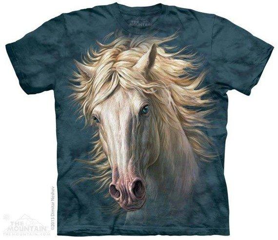 koszulka THE MOUNTAIN - WHITE HORSE PORTRAIT, barwiona