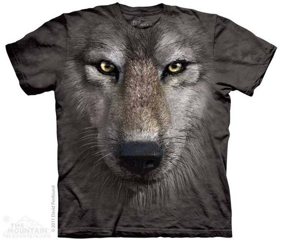 koszulka THE MOUNTAIN - WOLF FACE, barwiona