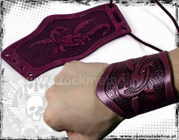 opaska na rękę wiązana 90mm DRAGON red