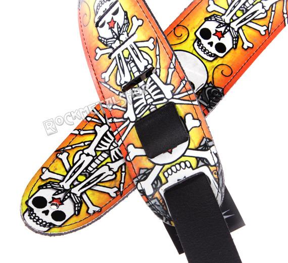 pas do gitary TATTOO JOHNNY - HAPPY SKELETON skórzany, 63mm