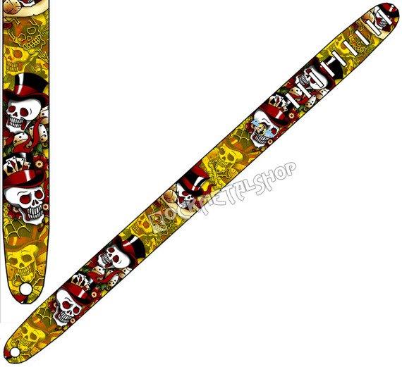 pas do gitary TATTOO JOHNNY - VOODOO SKULLS skórzany, 63mm