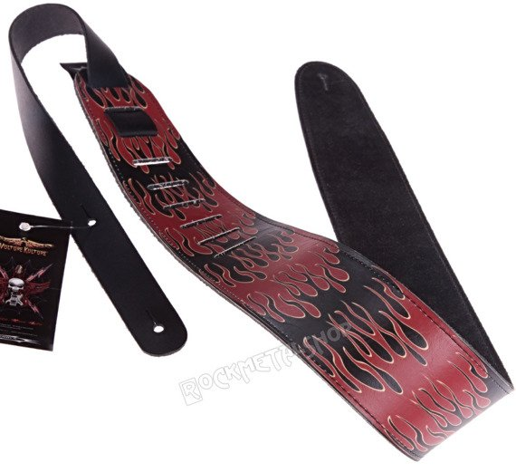 pas do gitary VULTURE KULTURE - FLAMES skórzany, 63mm