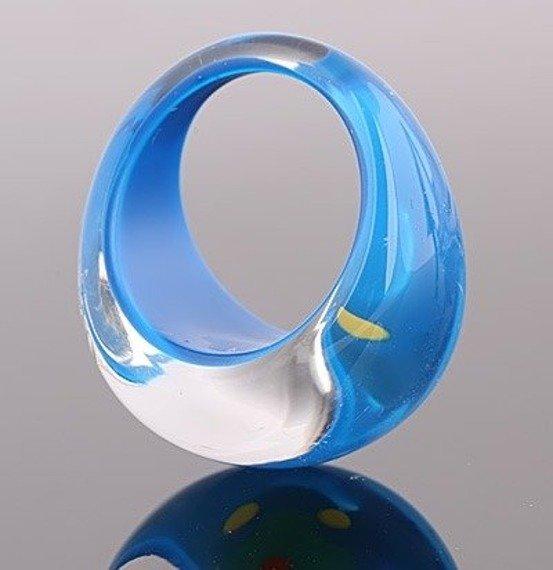 pierścień FLORAL niebieski