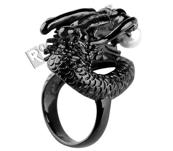 pierścień PEARL DRAGON black