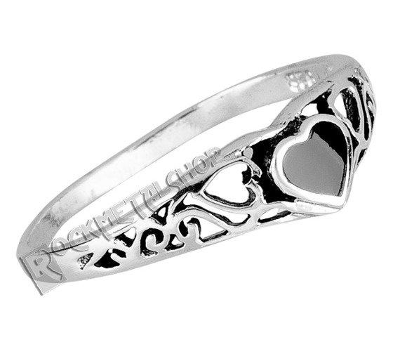 pierścionek BLACK HEART, srebro 925