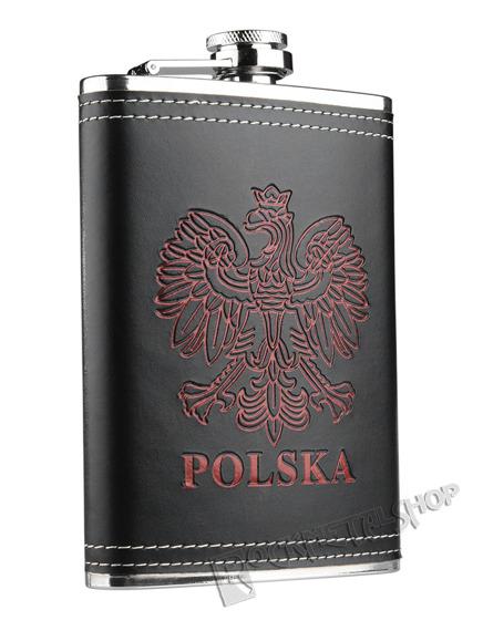 piersiówka czarna POLSKA + 4 kieliszki (240ml)