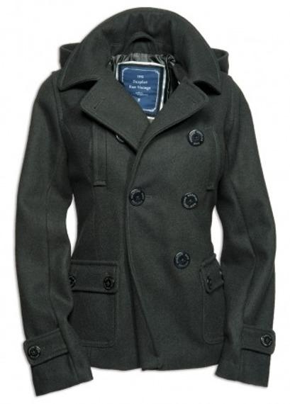 płaszcz marynarski damski LADIES PEA COAT - BLACK SURPLUS