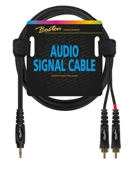 przewód audio BOSTON: 2 x RCA (cinch) - mały jack (3.5mm) stereo / 1,5m