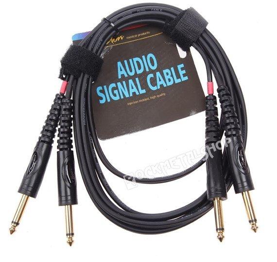 przewód audio BOSTON: 2x DUŻY JACK MONO (6.3mm) - 2x JACK MONO (6,3mm) / 9m