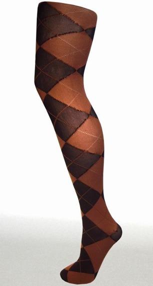 rajstopy ARGYLE kolor black/brown