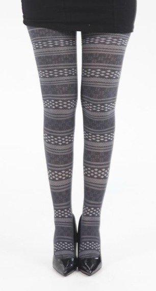 rajstopy Fairisle Spot and Stripe Tights - Dark Grey