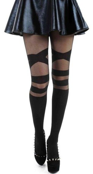 rajstopy V Strap Sheer Tights Black