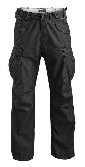 spodnie bojówki VINTAGE FATIGUES M65 WASHED - kolor czarny
