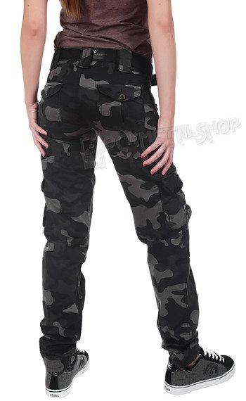 spodnie bojówki damskie LADIES PREMIUM TROUSERS SLIMMY BLACK CAMO