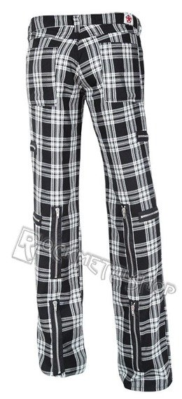 spodnie unisex DESTROY PANTS TARTAN BLACK/WHITE