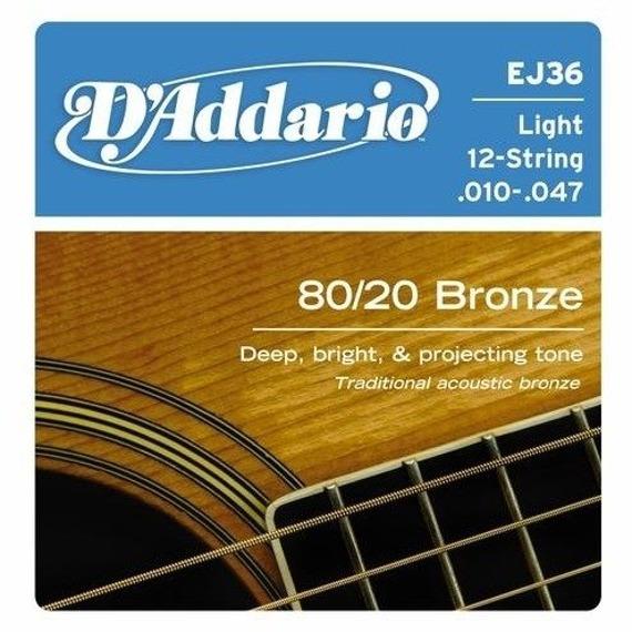 struny do gitary akustycznej 12str. 80/20 D'ADDARIO - BRONZE / Light (EJ36) /010-047/