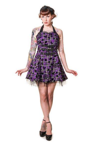 sukienka BANNED - PURPLE TARTAN
