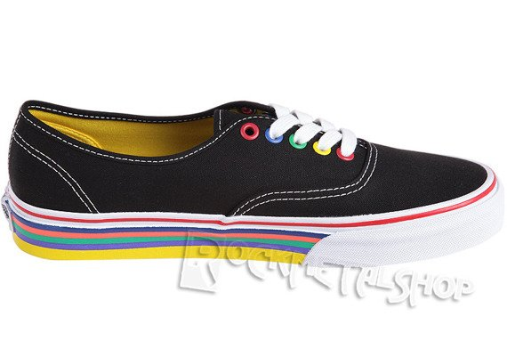 trampki VANS - AUTHENTIC RAINBOW SIDEWALL BLACK