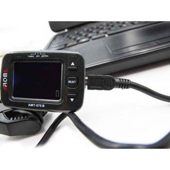 """tuner uniwersalny + metronom """"2w1"""" AROMA AMT-570B na klips, ładowany przez USB"""