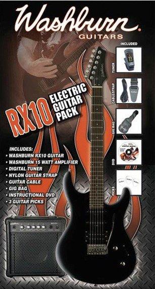 zestaw gitarowy WASHBURN RX10-B PACK Black